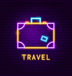 travel suitcase neon label vector image