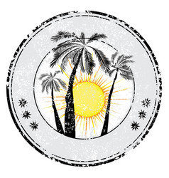 tropical grunge rubber stamp with palm sun space vector image