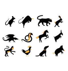 Twelve chinese year lunar zodiac horoscope symbols vector