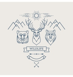 Wild animals Flat line vector image