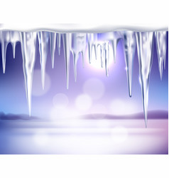 Winter realistic background with icicles vector