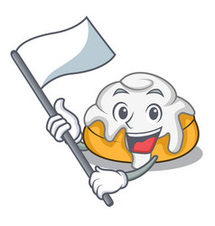 With flag cinnamon roll mascot cartoon vector