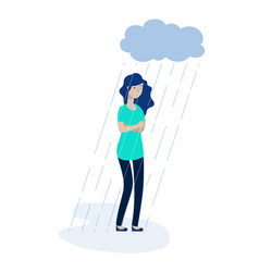 woman rain cloud depressed girl feeling lonely vector image