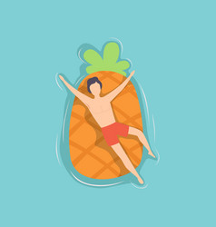 young man floating on air mattress in the shape of vector image