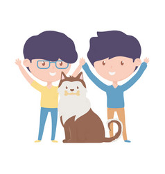young men with dog love adoption campaign vector image
