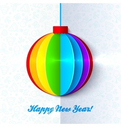 Rainbow shining colorful Christmas ball vector image vector image