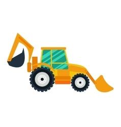 Yellow excavator on white background flat style vector image