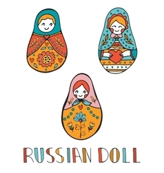Colorful card with cute russian dolls vector
