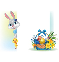 Easter background with rabbit chicken and basket vector image vector image