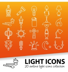 light outline icons vector image
