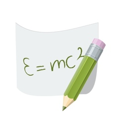 Pencil with paper page with formula vector image vector image