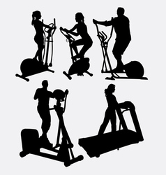 Fitness gymnastic sport male and female silhouette vector image