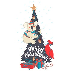Funny Merry Christmas card with koala wearing cute vector image