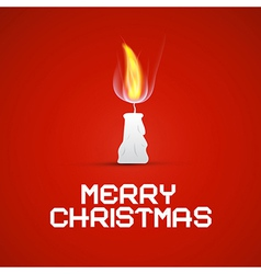 Red Christmas Template with Burning Candle vector image vector image