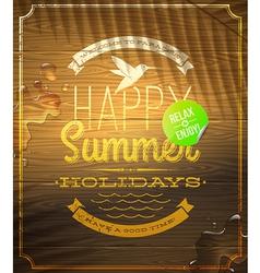 Summer holidays greeting emblem and sticker vector image vector image
