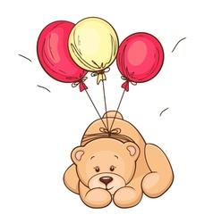 teddy bear and balloons vector image