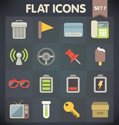 Universal Flat Icons for Applications Set 7 vector image vector image