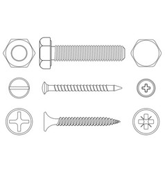 bolt screws and nut white outline icons vector image