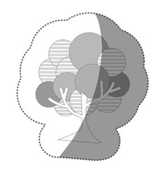 contour stamp beautiful tree icon vector image vector image