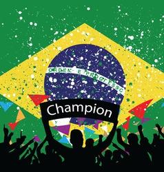 crowd cheer Brazil vector image vector image