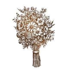 Hand drawn bouquet meadow flowers Vintage sketch vector image vector image