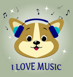 A dog is a corgi musician listening to music vector