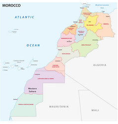 administrative and political map morocco vector image