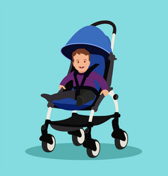Baby boy in stroller on a blue background vector