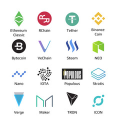 Big set of crypto currency logo coins bitcoin nem vector