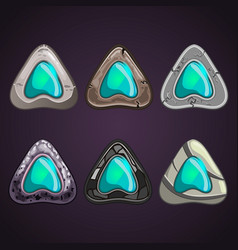 Big set of stone pointers with inlaid gems vector