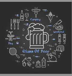 black linear banner beer glass vector image