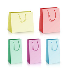 blank paper bag template set multicolor vector image