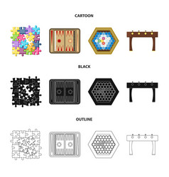 Board game cartoonblackoutline icons in set vector