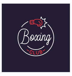 boxing club logo round linear logo boxing vector image
