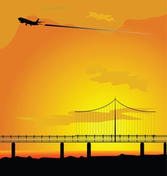 Bridge with airplane nature vector