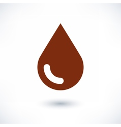 Brown color drop icon with gray shadow on white vector