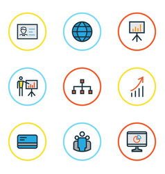 business colorful outline icons set collection of vector image