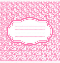 Card with pink frame vector