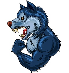 Cartoon of strong wolf character isolated vector