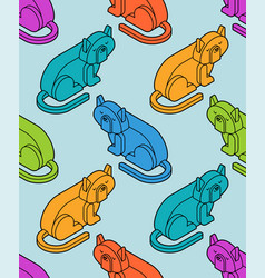 cat isometrics pattern home pet 3d background vector image