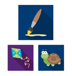 Children s toy flat icons in set collection for vector