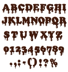 Chocolate alphabet isolated on white background vector image