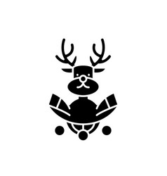 christmas deer decoration black icon sign vector image