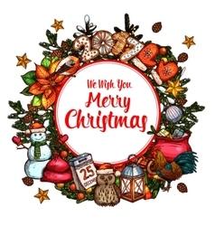 Christmas wreath sketch poster for xmas design vector