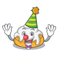 Clown cinnamon roll mascot cartoon vector