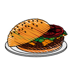 color crayon stripe cartoon hamburger in dish fast vector image