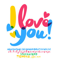 colorful artistic greeting card i love you vector image