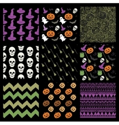 Colorful Sketched Doodle Halloween Patterns vector