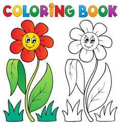 Coloring book with flower theme 3 vector