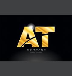 Combination letter at a t gold golden alphabet vector